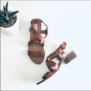 Steve Madden Strappy Heeled Sandal   Cognac Tan